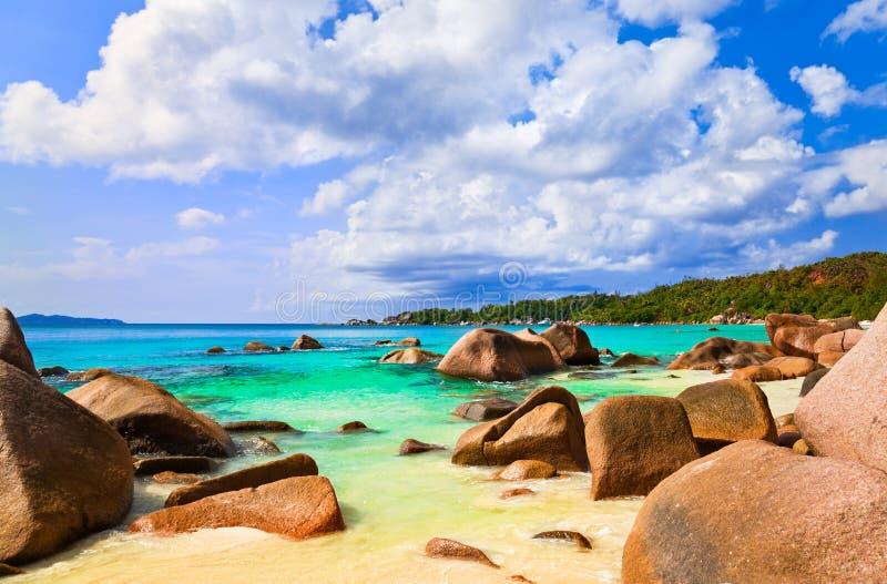Vare Anse Lazio en la isla Praslin, Seychelles fotografía de archivo