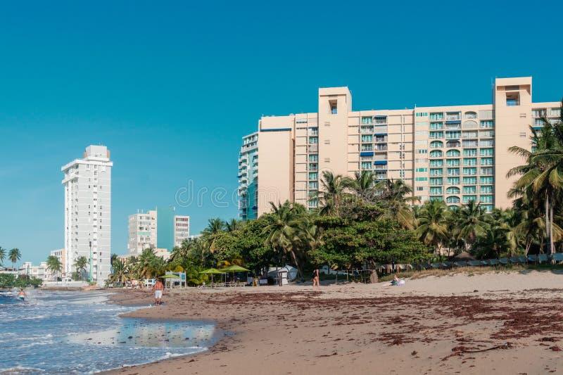 Vare con los hoteles y la palma en Puerto Rico San Juan imagen de archivo libre de regalías