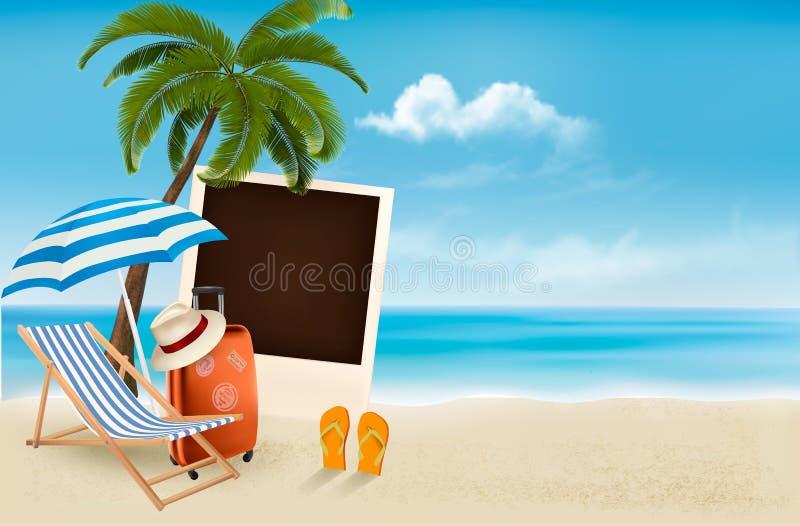 Vare con una palmera, una fotografía y una silla de playa. libre illustration