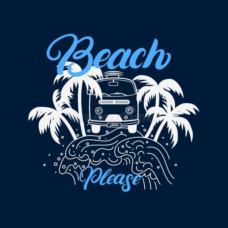Vare dan por favor las letras escritas con las palmas, ondas, tablas hawaianas stock de ilustración