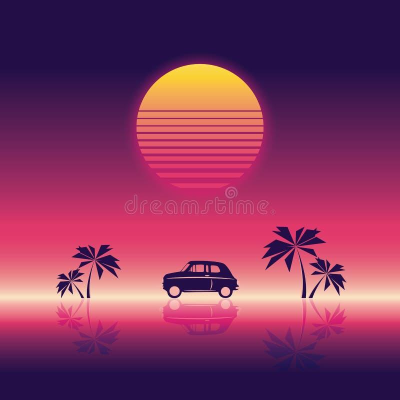 Vare la plantilla del ejemplo del vector del cartel del partido con puesta del sol y las palmeras y pequeño coche estilo retro de libre illustration