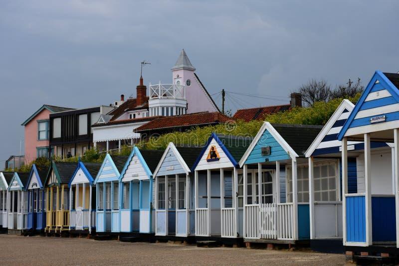 Vare las chozas, playa de Southwold, Norfolk, Reino Unido fotos de archivo libres de regalías