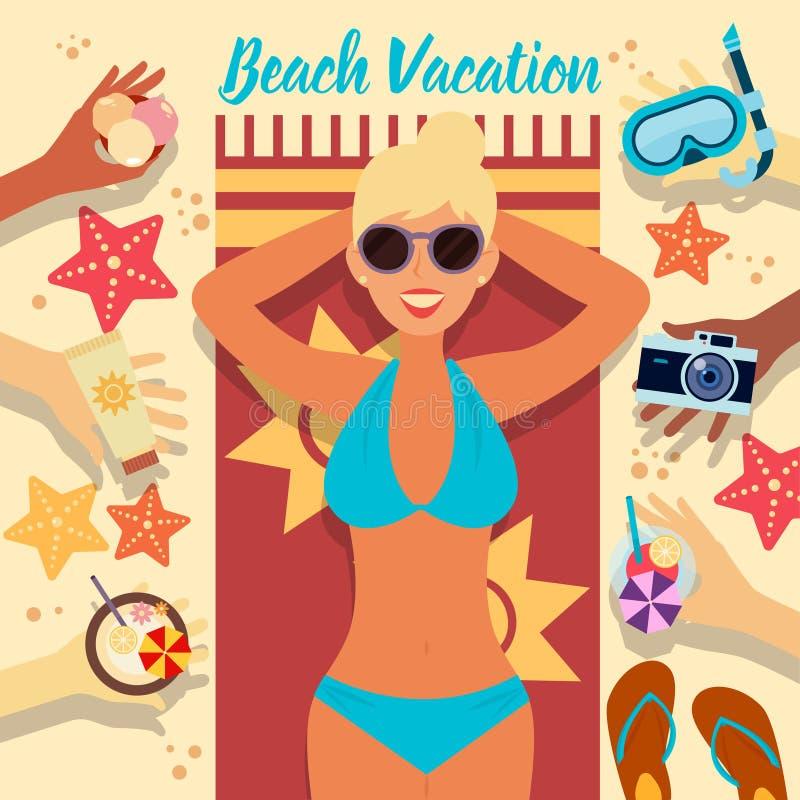 Vare las vacaciones Adultos jovenes Mujer en la playa ilustración del vector