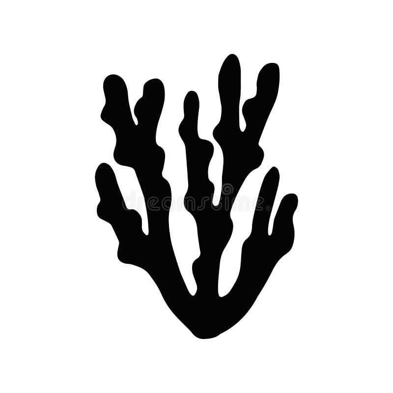 Varech d'algue Silhouette d'isolement usine de marine d'objet illustration stock