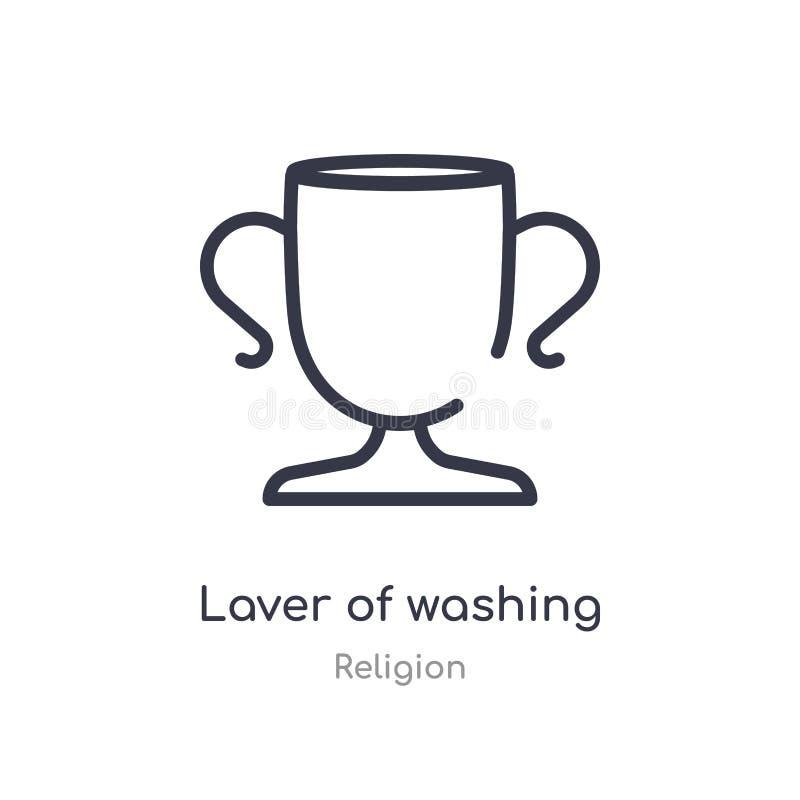 varech d'icône de lavage d'ensemble ligne d'isolement illustration de vecteur de collection de religion varech mince editable de  illustration libre de droits