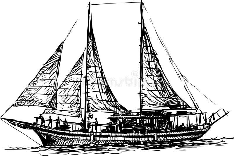 Varend jacht royalty-vrije illustratie
