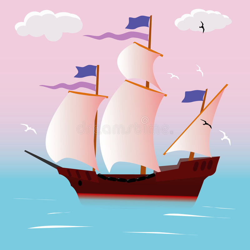 Varend schip vector illustratie