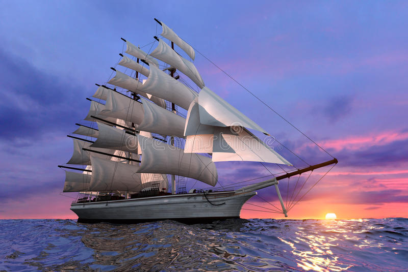 Varend schip bij zonsondergang stock illustratie