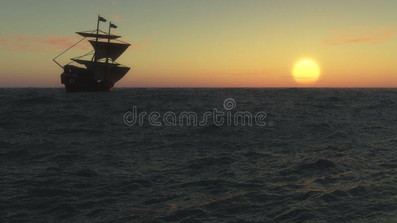 Varend schip bij zonsondergang vector illustratie