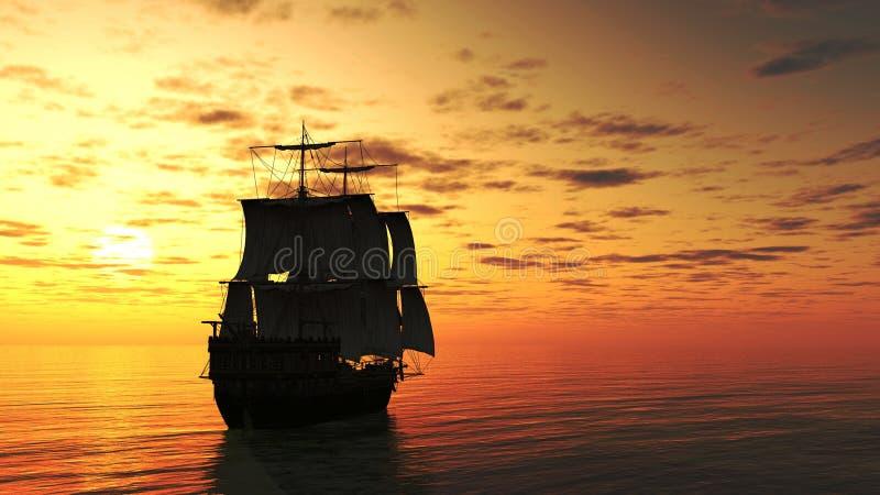 Varend Schip bij Zonsondergang