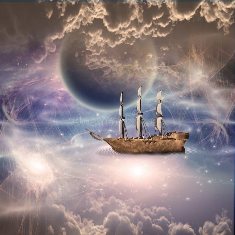 Varend schip in fantastische scène royalty-vrije illustratie