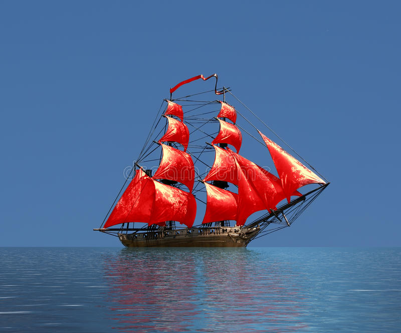 Varend schip onder volledig zeil royalty-vrije stock foto