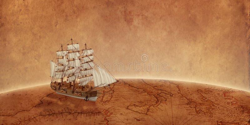 Varend schip op oude wereldkaart Concept een onderzoek naar schat en nieuwe ontdekkingen royalty-vrije stock fotografie