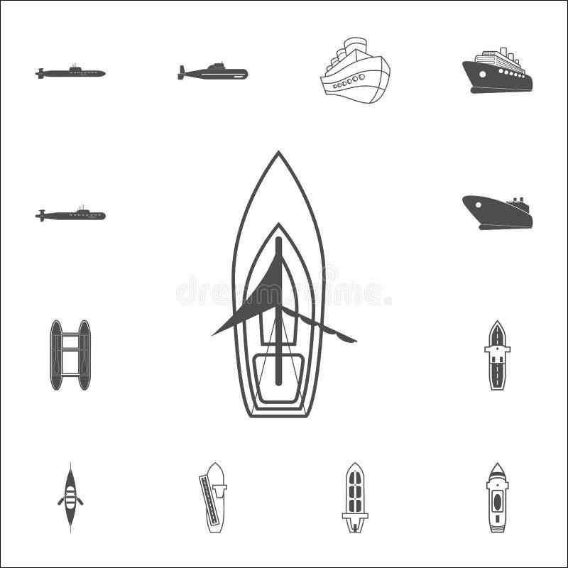 Varend schippictogram Gedetailleerde reeks Schepenpictogrammen Grafisch het ontwerpteken van de premiekwaliteit Één van de inzame vector illustratie