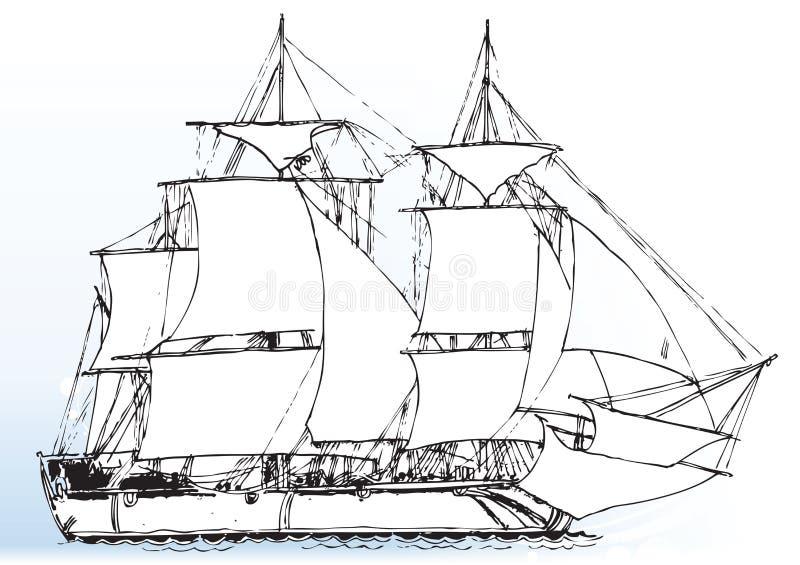 Varend windschip royalty-vrije illustratie