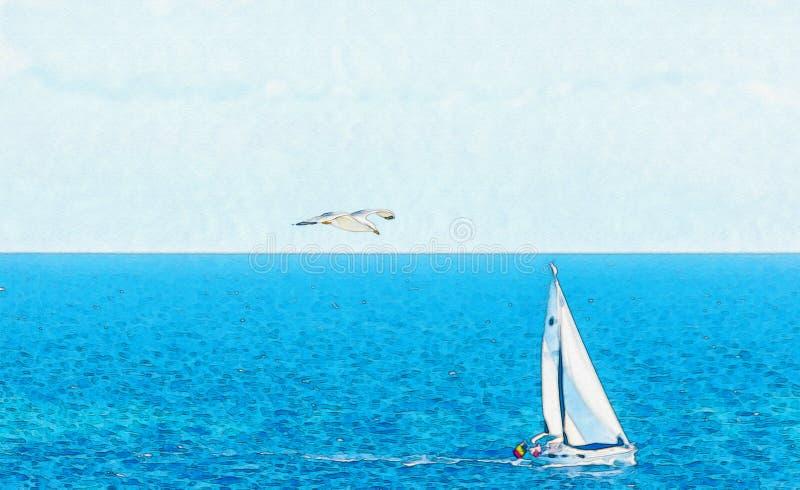 Varende boot die op de open zee, geschilderde waterverf stromen vector illustratie