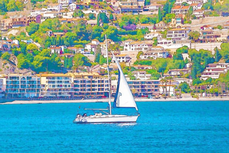Varende boot die op de open zee, geschilderde waterverf stromen royalty-vrije illustratie