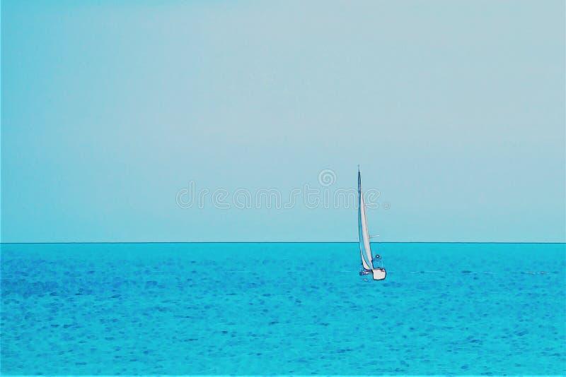 Varende boot die op de open zee, geschilderde waterverf stromen stock foto