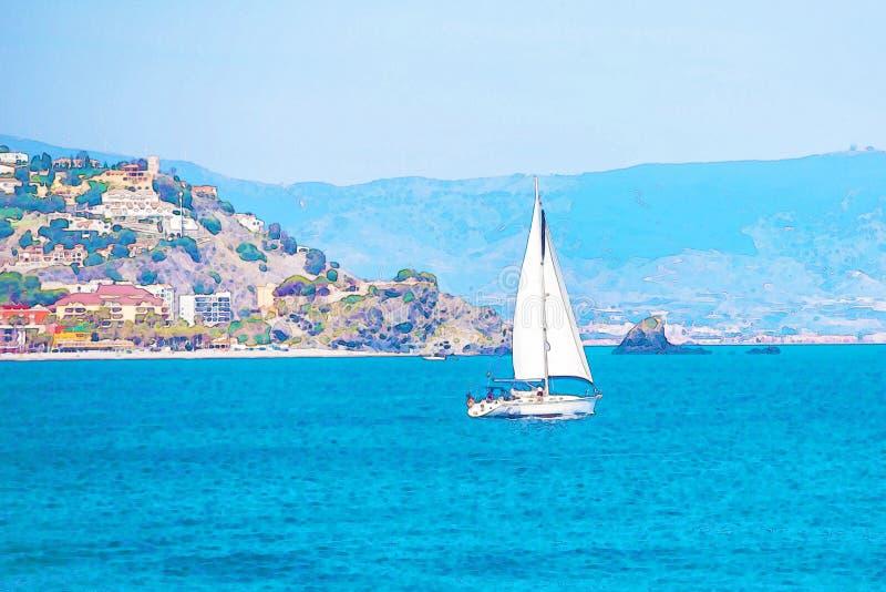 Varende boot die op de open zee, geschilderde waterverf stromen royalty-vrije stock foto