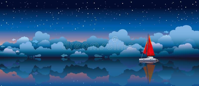 Varende boot in een overzees en een nachthemel stock illustratie