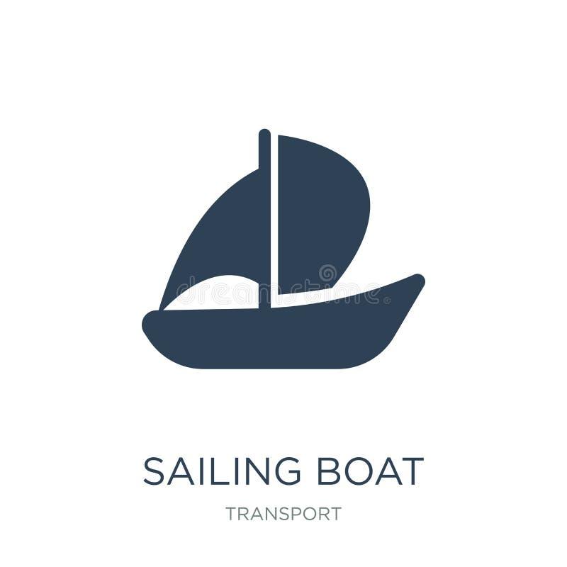 varende boot met sluierspictogram in in ontwerpstijl varende die boot met sluierspictogram op witte achtergrond wordt geïsoleerd  royalty-vrije illustratie