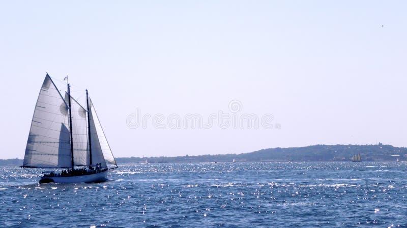 Varende boot op blauwe glanzende overzees onder zonneschijn stock foto's