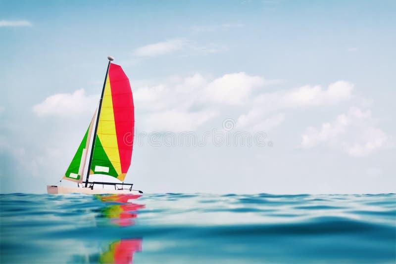Varende catamaran stock fotografie
