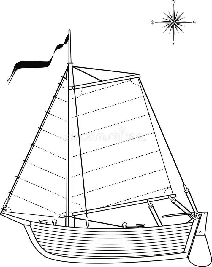 Varende uitstekende boot stock illustratie