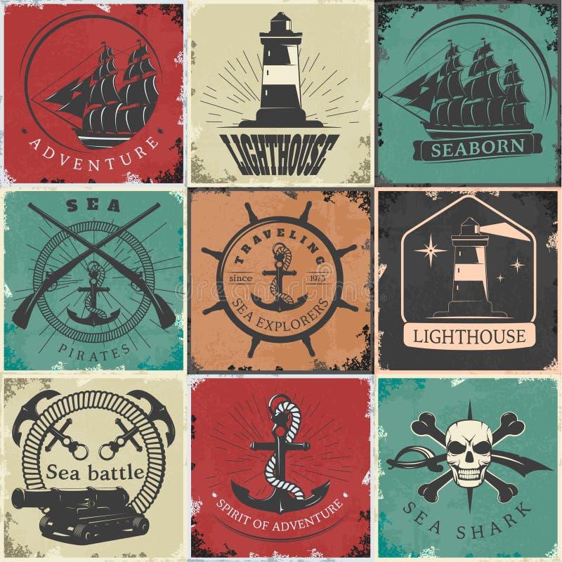 Varende Uitstekende Stickers stock illustratie