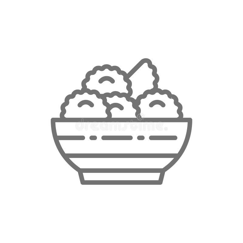 Vareniki, bolas de masa hervida, línea ucraniana icono de la cocina stock de ilustración