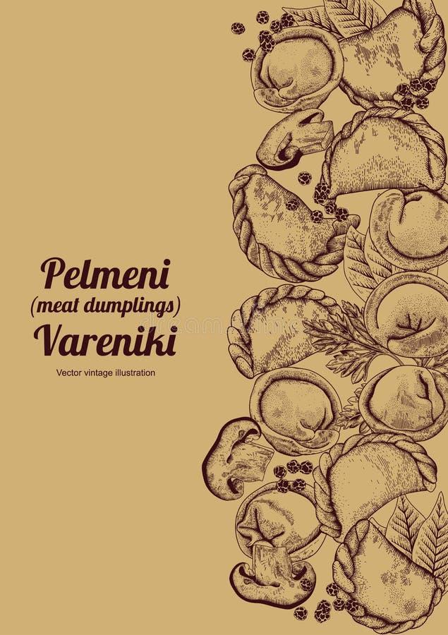 Vareniki Pelmeni Μπουλέττες κρέατος Τρόφιμα Άνηθος, μαϊντανός, μαύρο πιπέρι, φύλλο κόλπων μαγείρεμα εθνικά ραβδιά θαλασσινών κουβ διανυσματική απεικόνιση