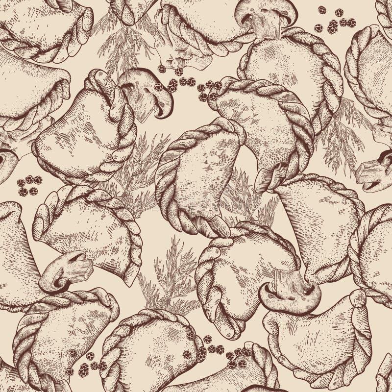 Vareniki Pelmeni Μπουλέττες κρέατος Τρόφιμα Άνηθος, μαϊντανός, μαύρο πιπέρι, φύλλο κόλπων μαγείρεμα εθνικά ραβδιά θαλασσινών κουβ ελεύθερη απεικόνιση δικαιώματος