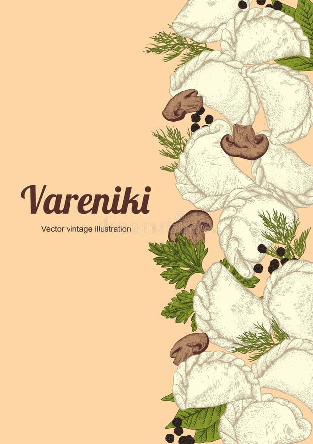 Vareniki Pelmeni 肉饺子 食物 莳萝,荷兰芹,黑胡椒,月桂叶 烹调 竹子断送膳食国家牌照地毯海鲜棍子 正餐 从Th的产品 向量例证