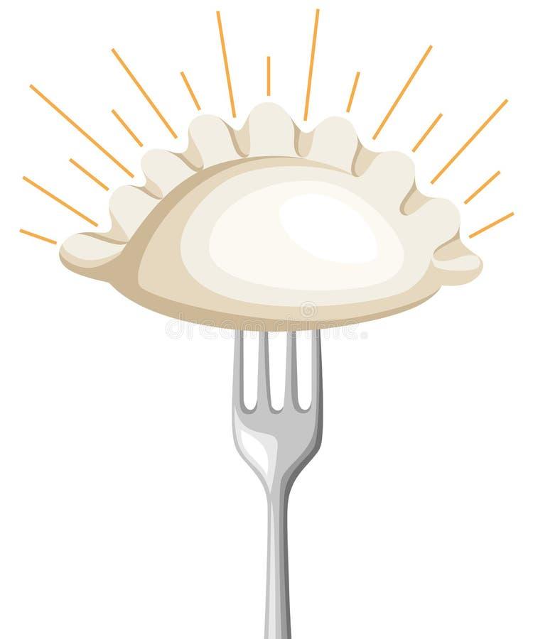 Vareniki Pelmeni Bolinhas de massa da carne Alimento Aneto, salsa, pimenta preta, folha de louro cozinhar Pratos nacionais jantar ilustração stock