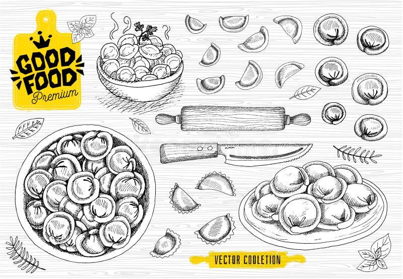 Vareniki Pelmeni Bolinhas de massa da carne Alimento cozinhar Pratos nacionais Produtos da massa e da carne ilustração royalty free