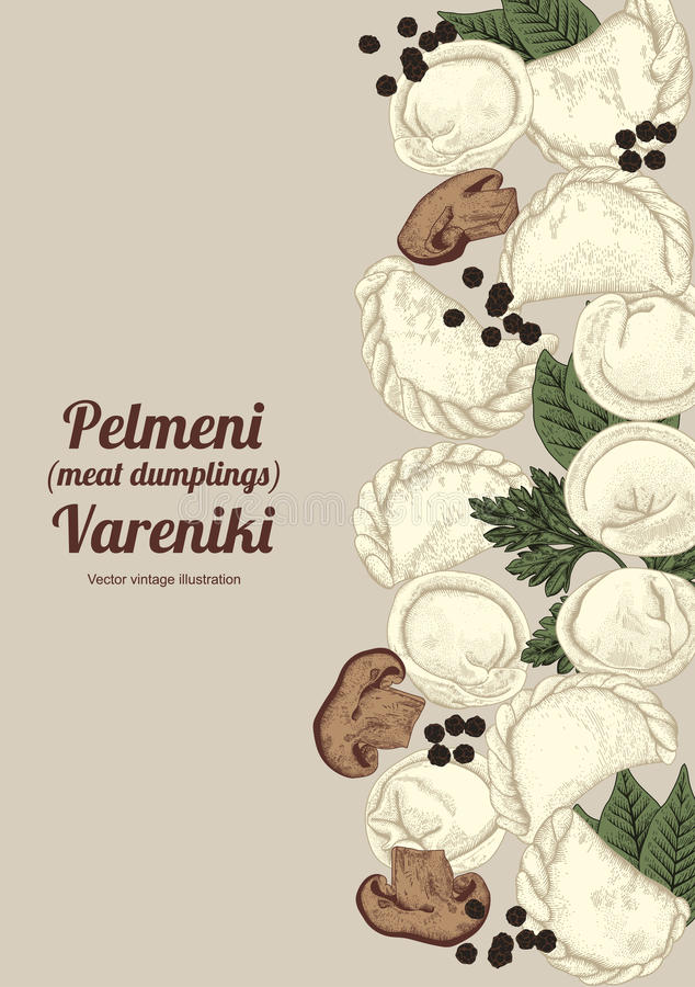 Vareniki. Pelmeni. Meat dumplings. Food. Dill, parsley, black pepper, bay leaf. Cooking. National dishes. Dinner. Products from th stock illustration