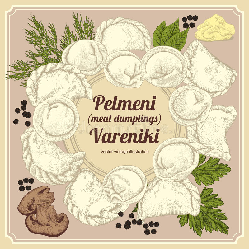 Vareniki. Pelmeni. Meat dumplings. Food. Dill, parsley, black pepper, bay leaf. Cooking. National dishes. Dinner. Products from th royalty free illustration