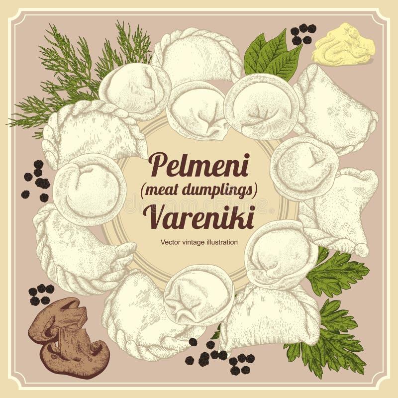 Vareniki Pelmeni Mięsne kluchy Jedzenie Koper, pietruszka, czarny pieprz, podpalany liść _ bambusa naczyń posiłku obywatela taler royalty ilustracja