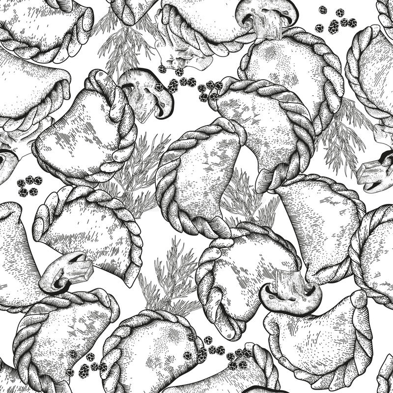 Vareniki Pelmeni Mięsne kluchy Jedzenie Koper, pietruszka, czarny pieprz, podpalany liść _ bambusa naczyń posiłku obywatela taler ilustracja wektor