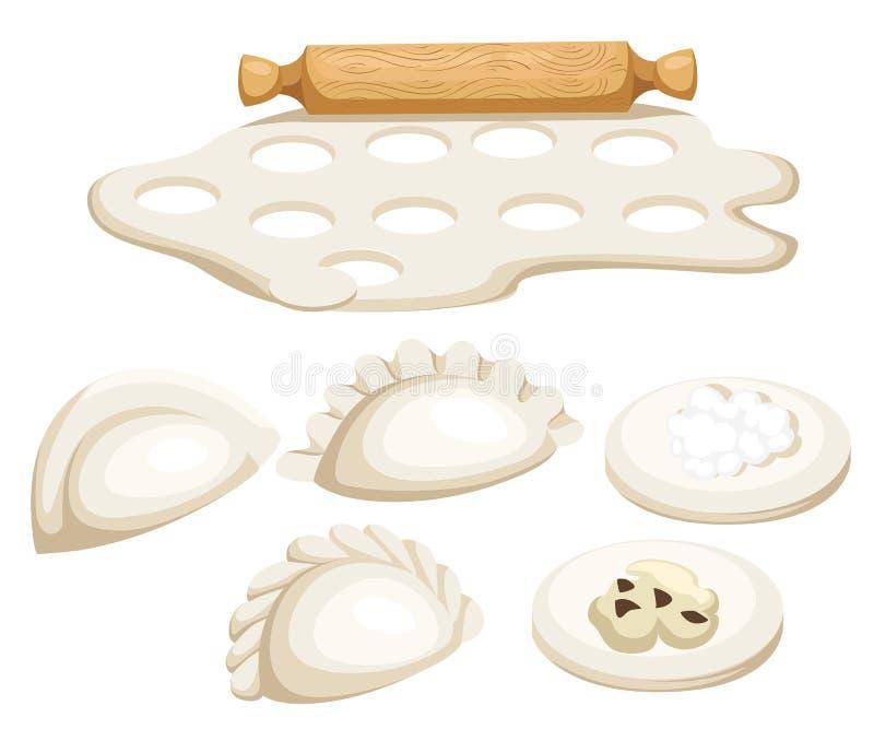 Vareniki Pelmeni Mięsne kluchy Jedzenie Koper, pietruszka, czarny pieprz, podpalany liść _ bambusa naczyń posiłku obywatela taler ilustracji