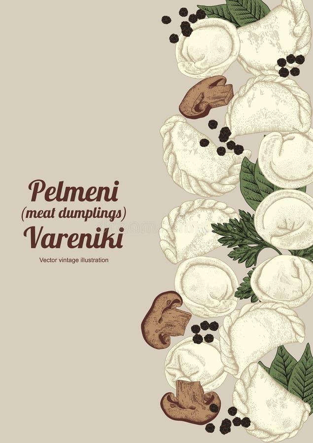Vareniki Pelmeni Russisches pelmeni auf einer Platte Nahrung Dill, Petersilie, schwarzer Pfeffer, Lorbeerblatt kochen Mahlzeit vo stock abbildung