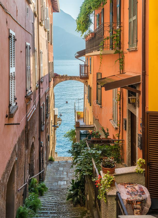 Scenic sight in Varenna on a sunny summer afternoon, Lake Como, Lombardy, Italy. stock photography