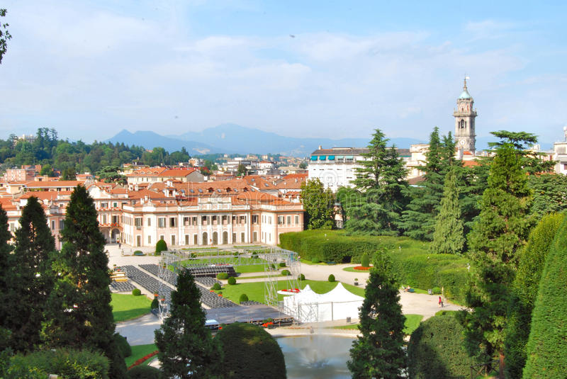 Varese - Italy. A landscape of the city of Varese, in Italy, from the estense gardens stock photo