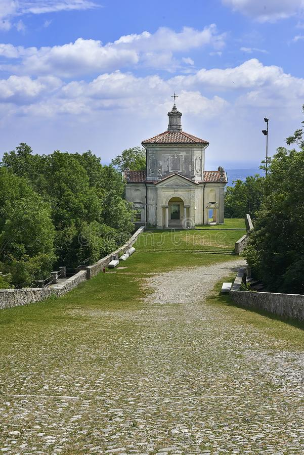 Varese, Italy - June 04, 2017: Sacred Mount of Varese or The Sacro Monte di Varese is one of the nine sacri monti in regions of Lo. Mbardy and Piedmont in Italy royalty free stock photo
