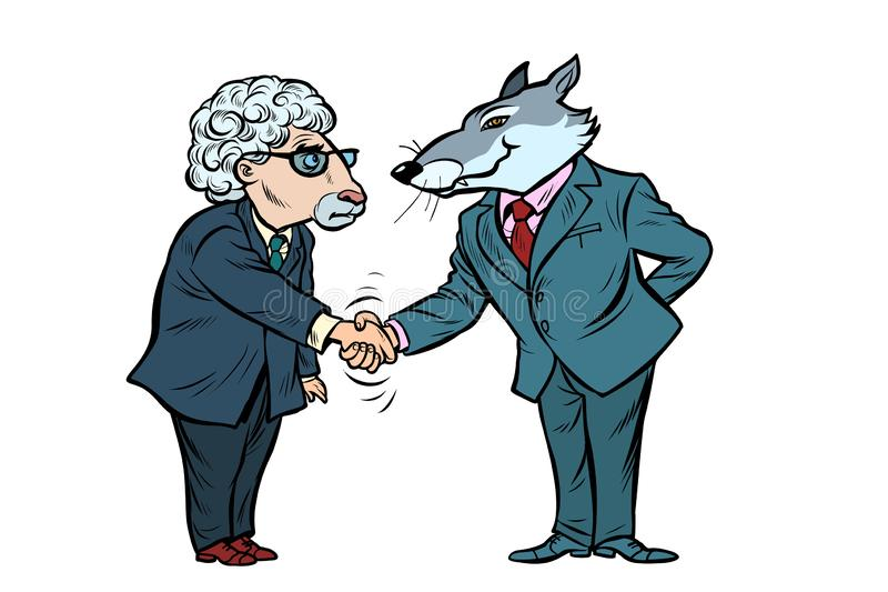 Varg- och fåraffärsförhandlingar, kamratskapisolat på vit bakgrund vektor illustrationer