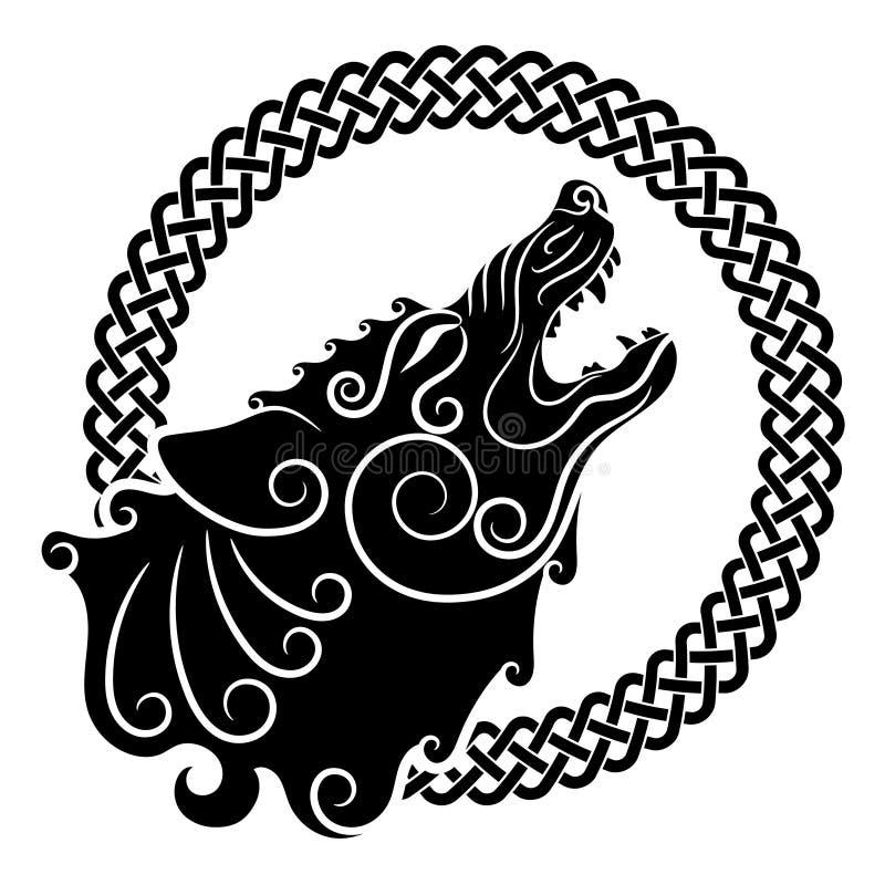 Varg på celtic stil som tjuter vargen i keltisk prydnad royaltyfri illustrationer