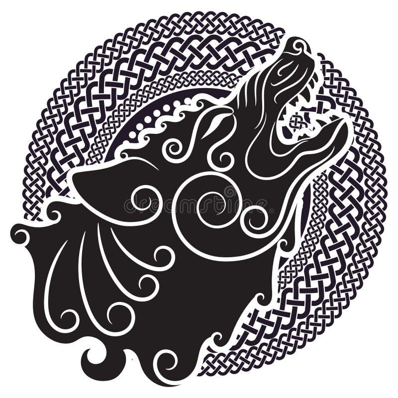 Varg på celtic stil som tjuter vargen i keltisk prydnad stock illustrationer