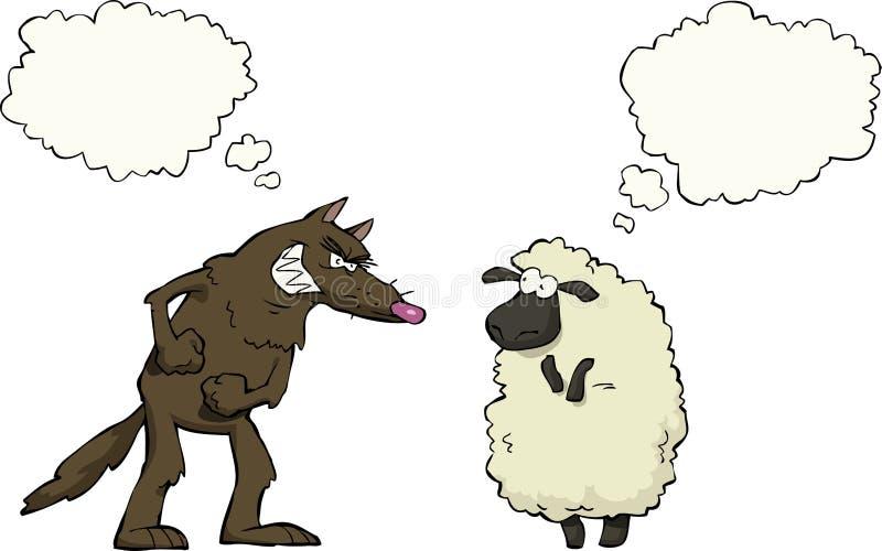 Varg vs får stock illustrationer