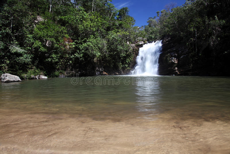 Vargem Grande waterfall near Pirenopolis royalty free stock images