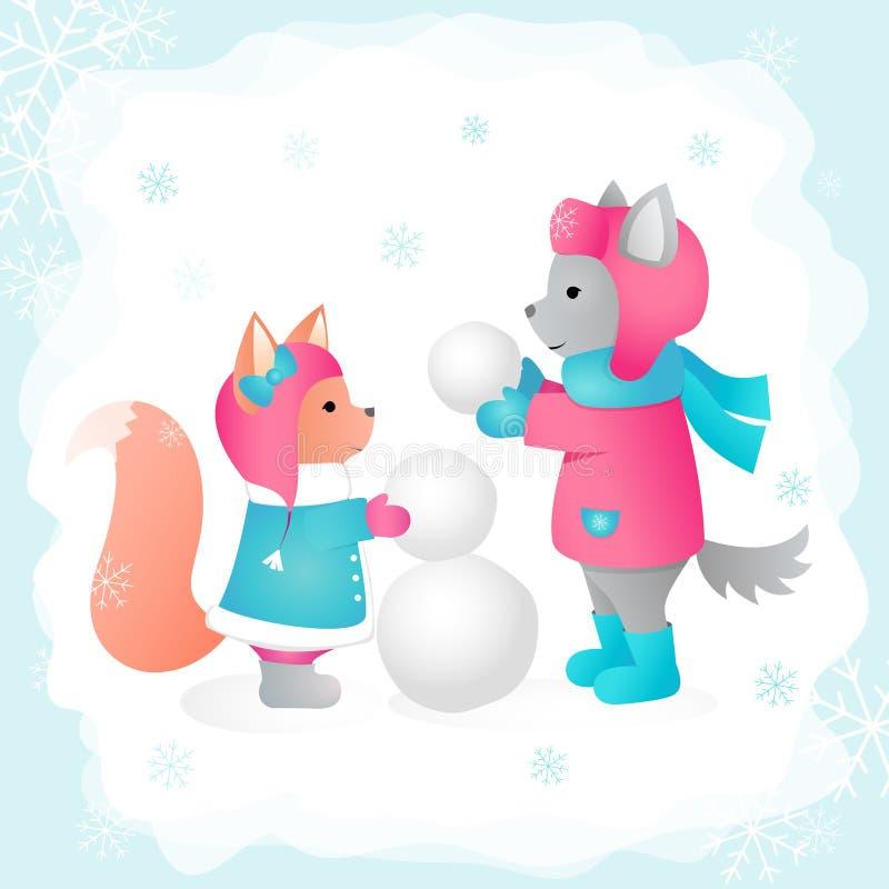 Vargen och ekorren hugger en snögubbe i en skogvektorillustration Göra perfekt för designkort och att skriva ut på kläder royaltyfri illustrationer